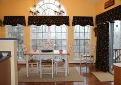 Custom sized scalloped valances with sliding glass door panel on clip